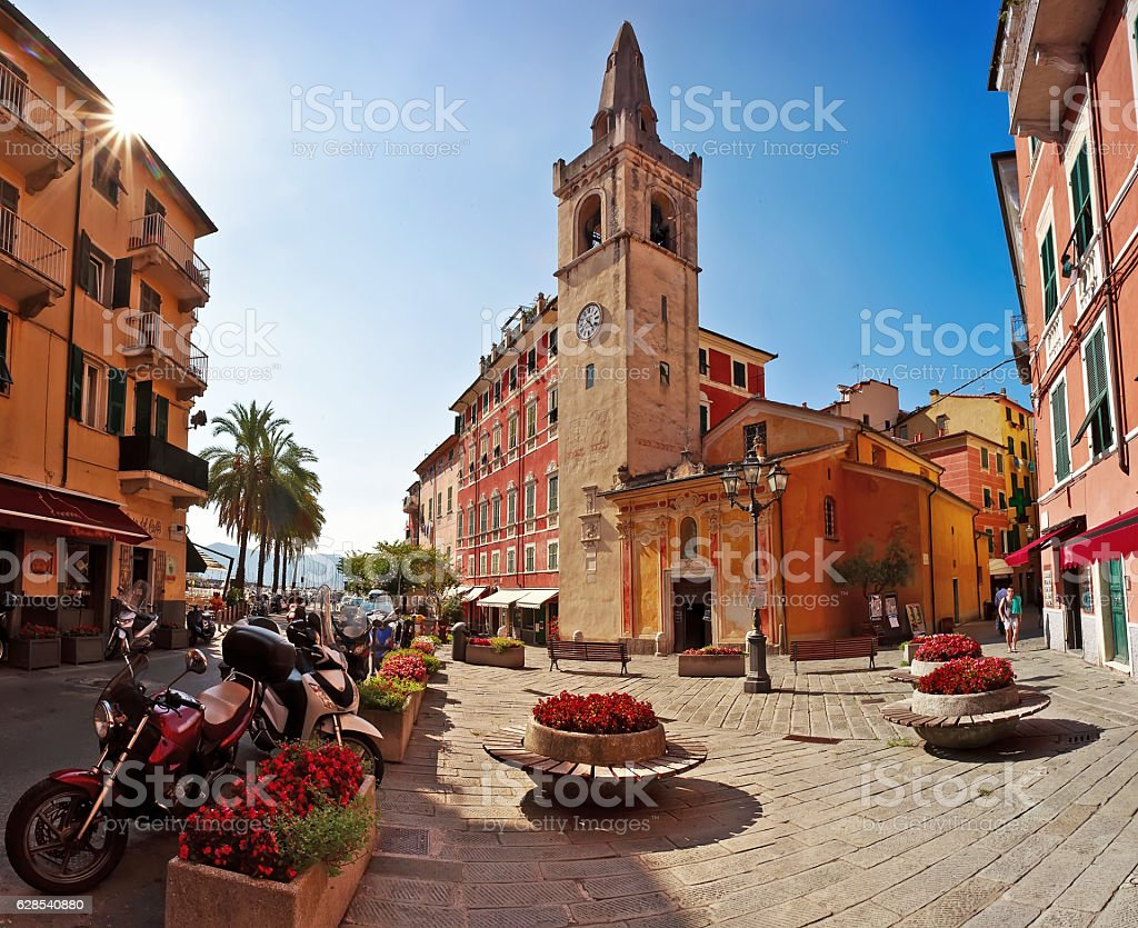 LERICI August 2015 - Old square town of stock photo