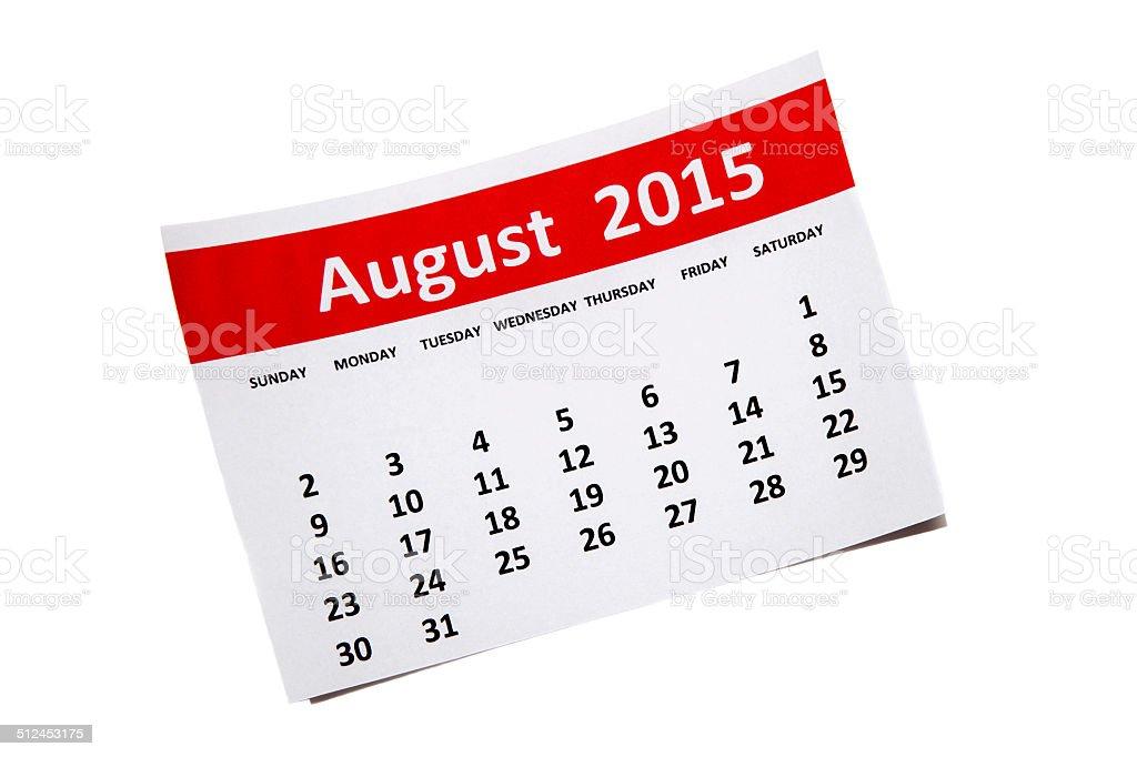 August 2015 stock photo