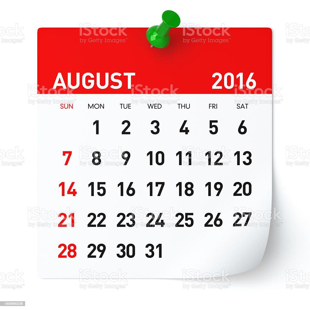 August 2016 - Calendar. stock photo