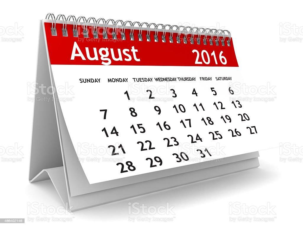 August 2016 calendar stock photo