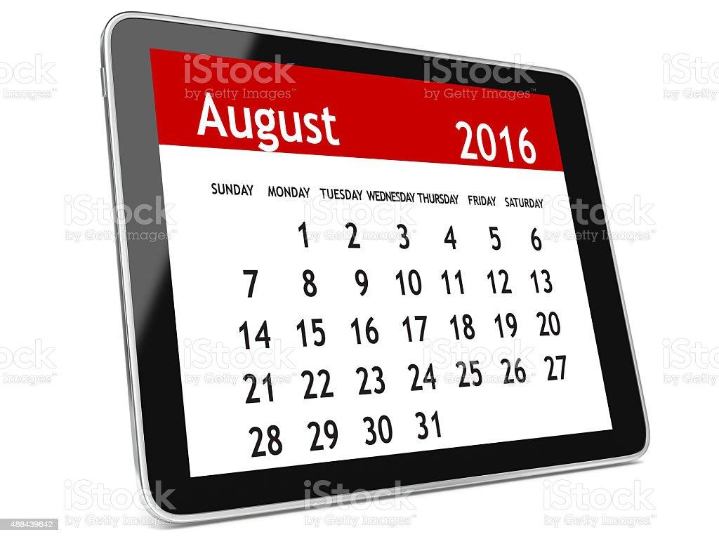 August 2016 calendar tablet stock photo