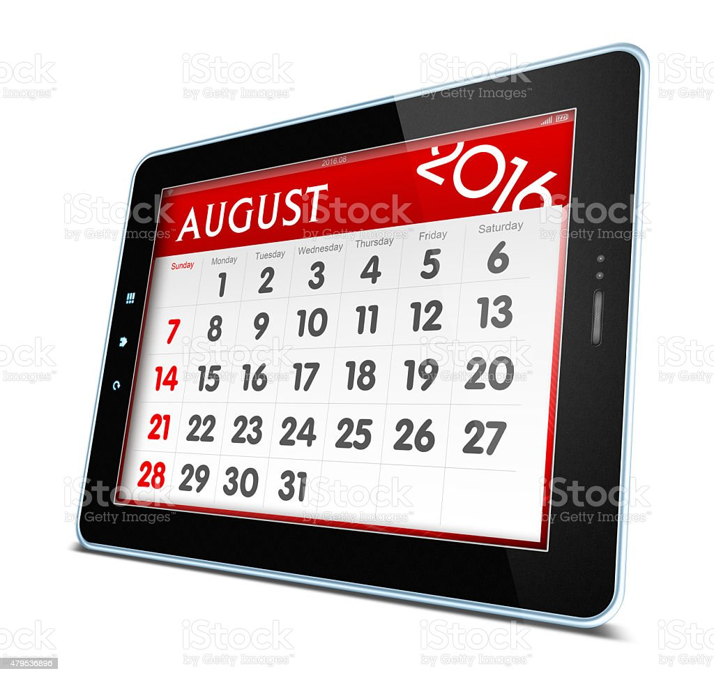 August 2016 Calender on digital tablet isolated on white background stock photo