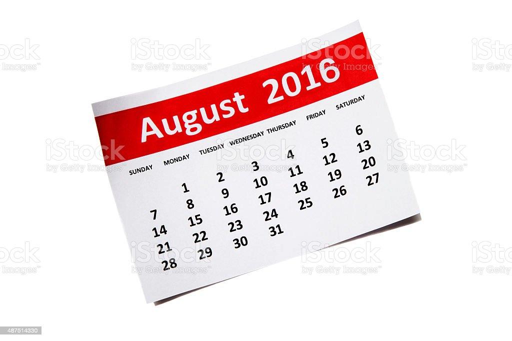 August 2016 stock photo