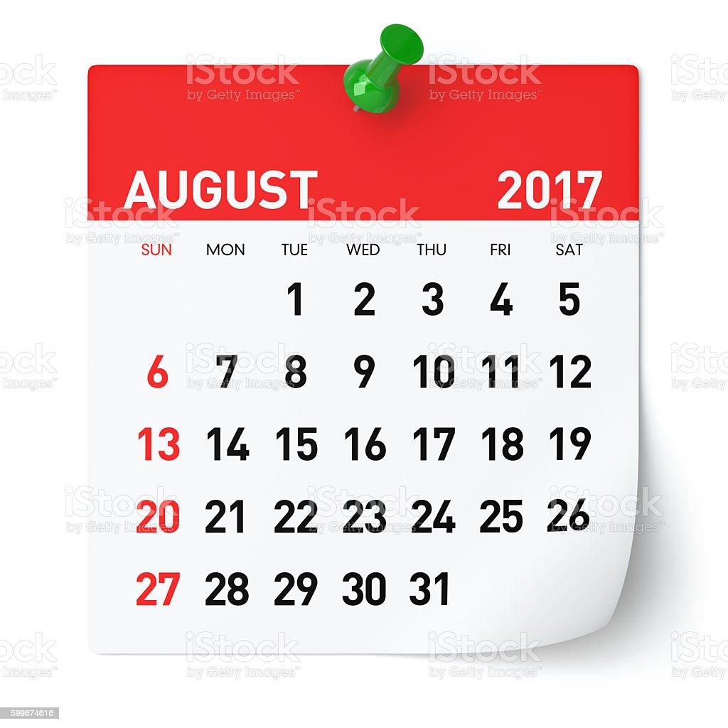 August 2017 - Calendar stock photo
