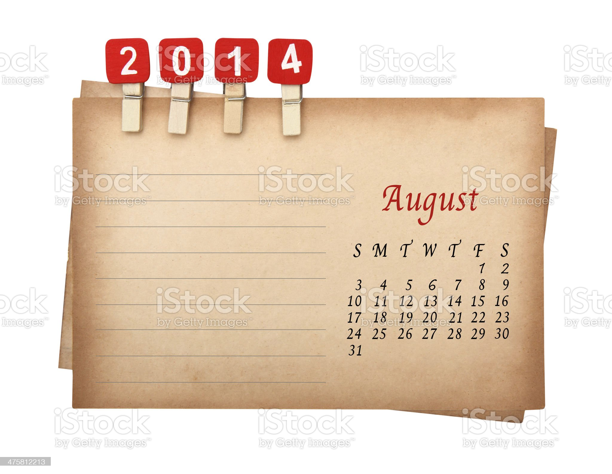 August Calendar 2014 on the old paper with wooden pegs royalty-free stock photo