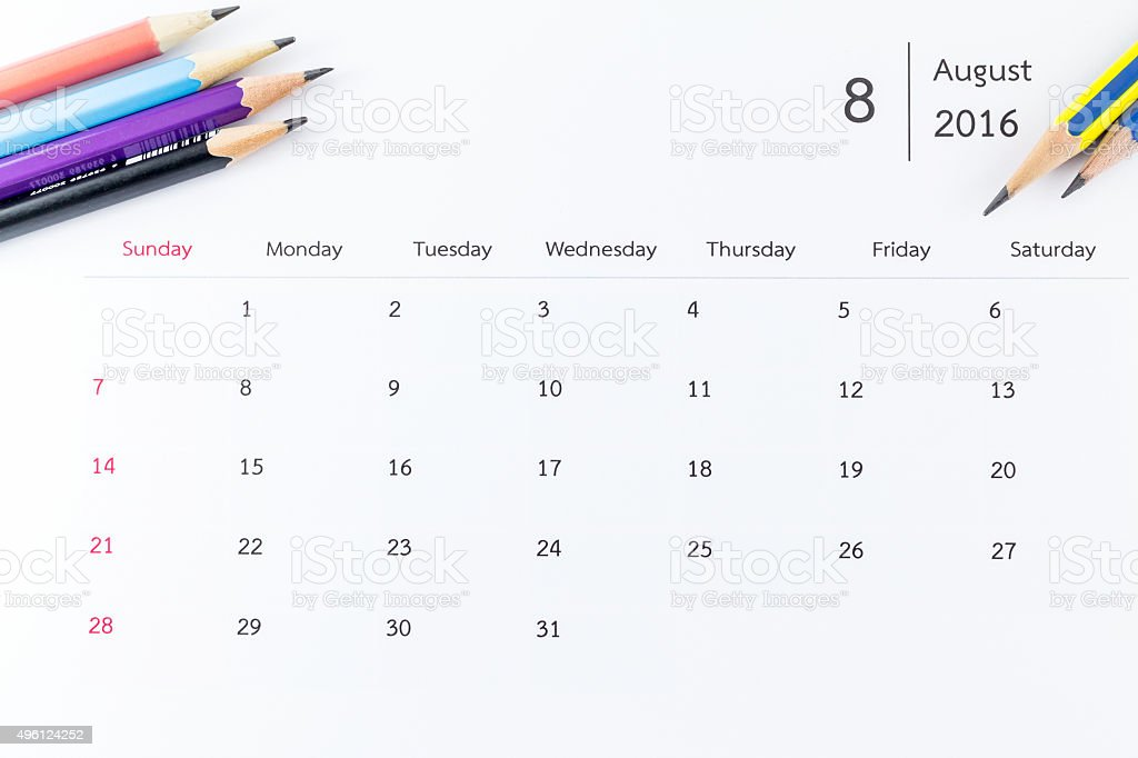 August calendar 2016 with pencils stock photo