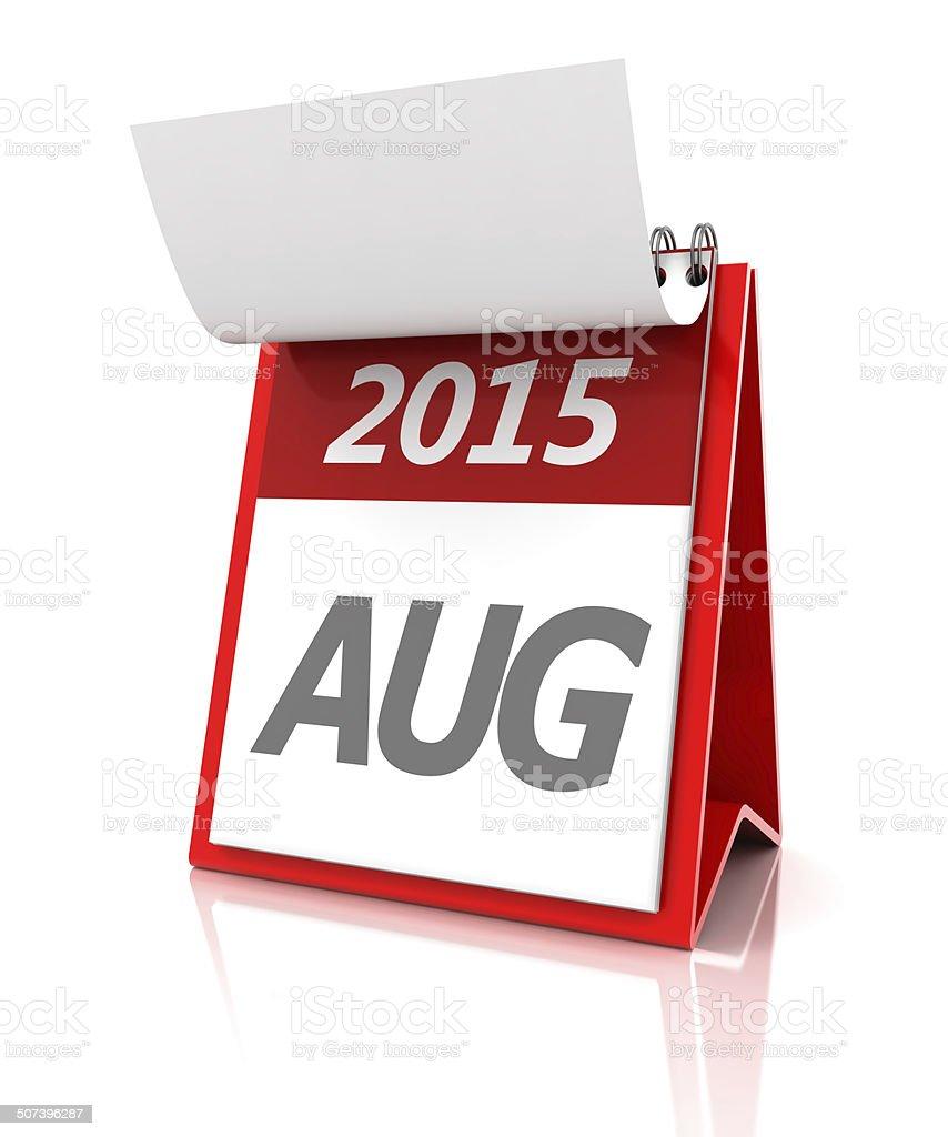 2015 August calendar, 3d render stock photo