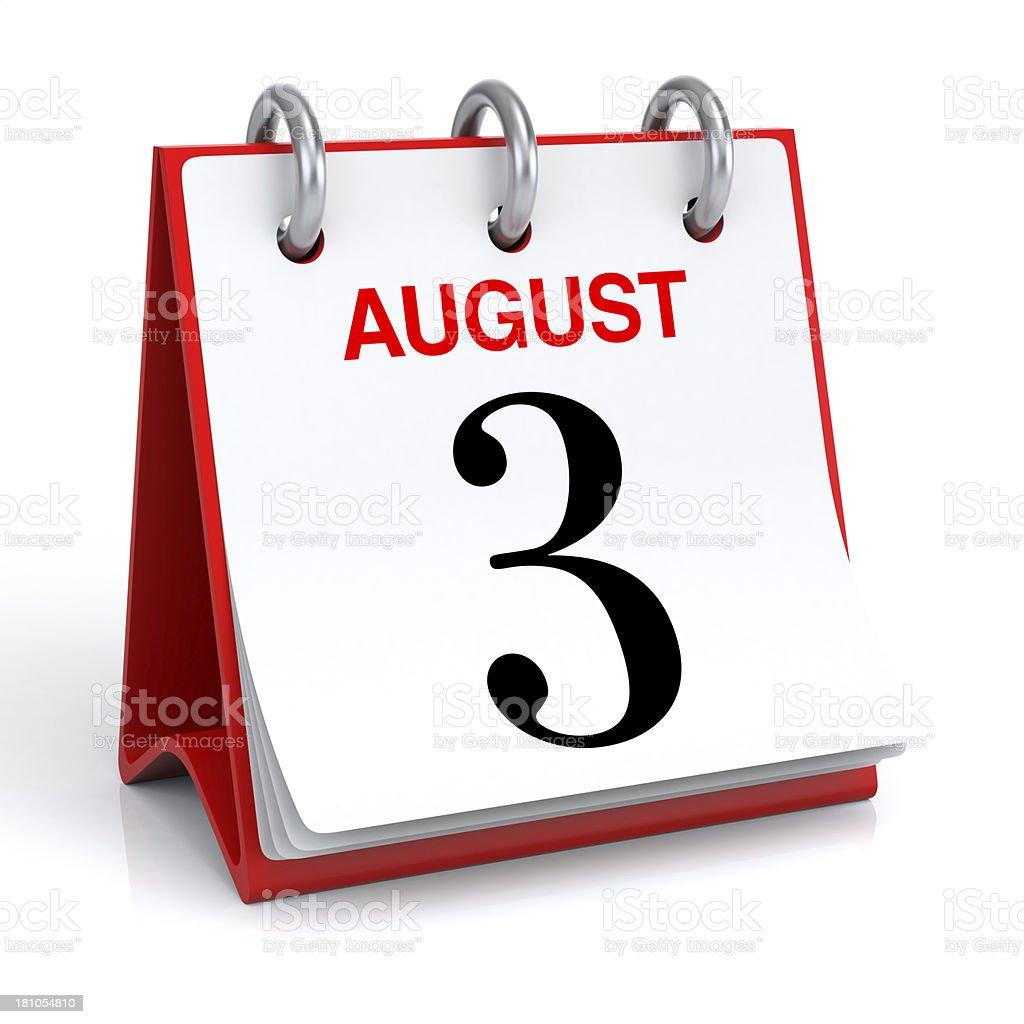 August Calendar royalty-free stock photo