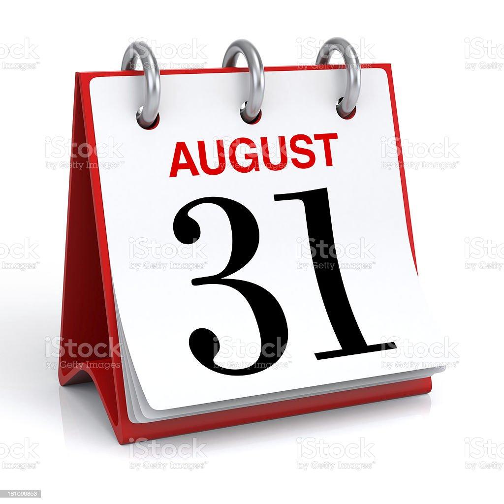August Calendar stock photo