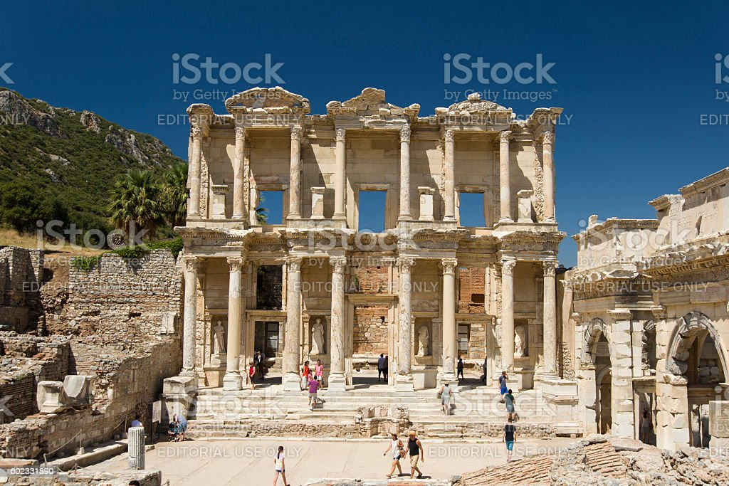 August doors Ephesus stock photo