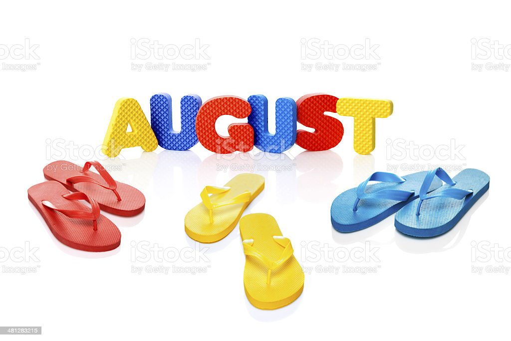 August word and flip flops royalty-free stock photo