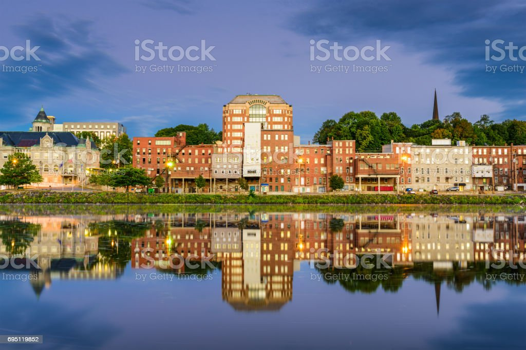 Augusta, Maine River stock photo
