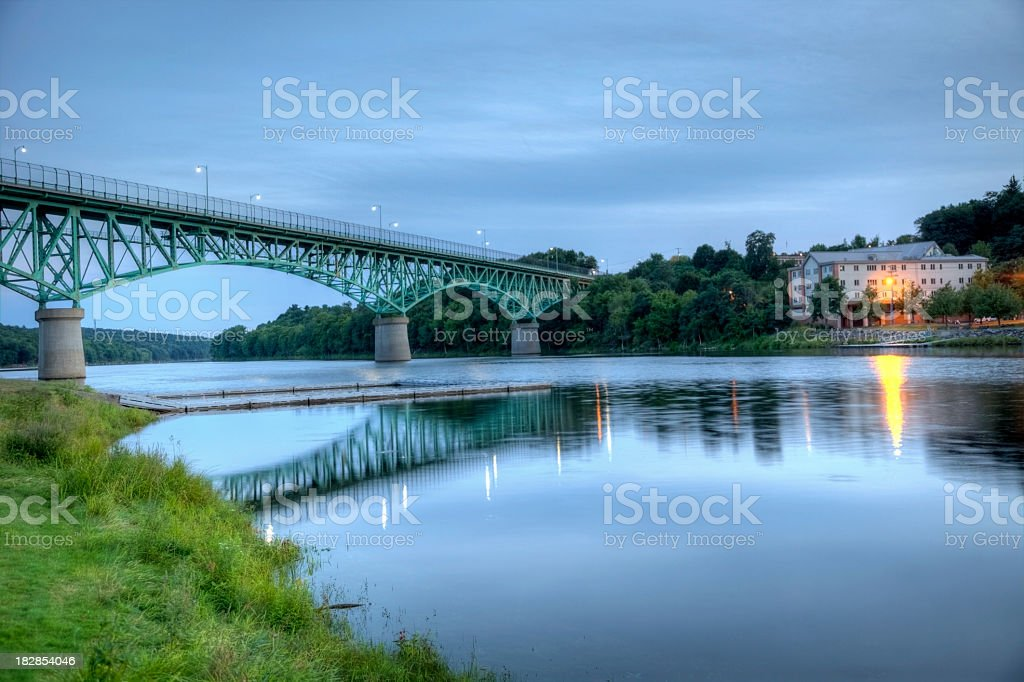 Augusta Memorial Bridge over the kennebec River stock photo