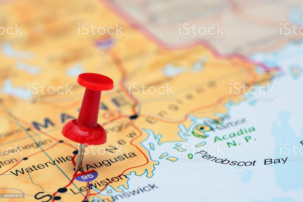 Augusta pinned on a map of USA stock photo