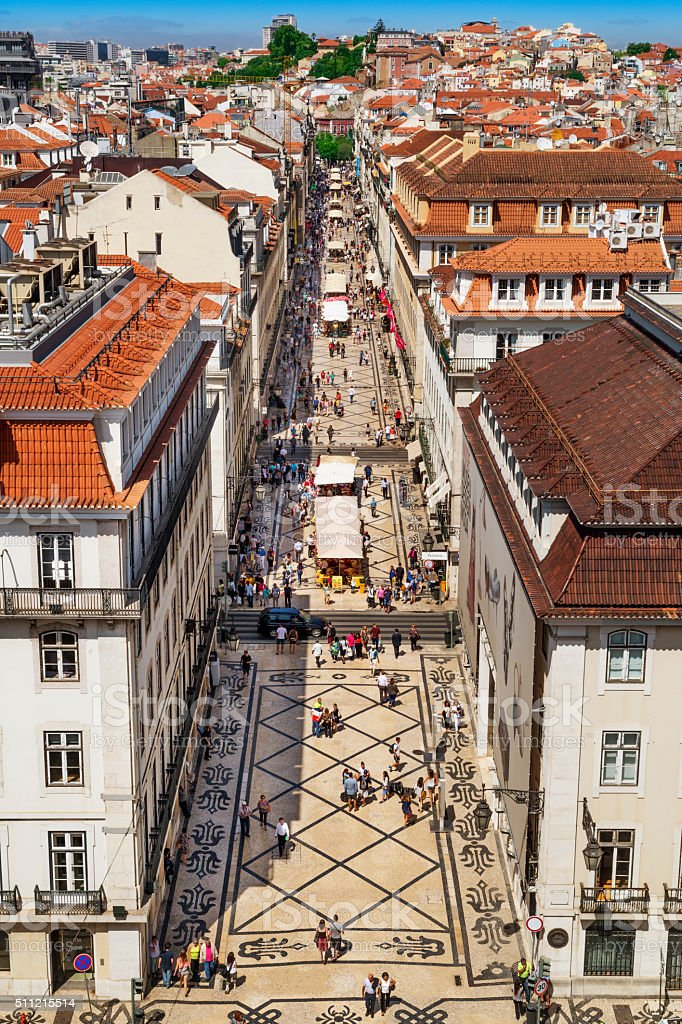 Augusta Street in Lisbon, capital of Portugal stock photo