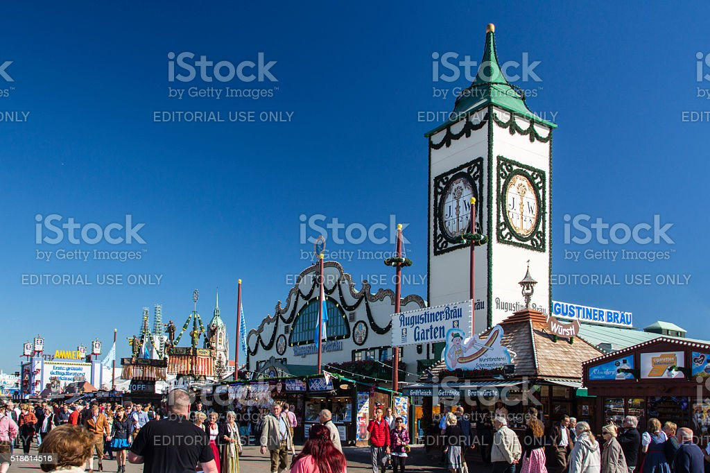 Augustiner tent at Oktoberfest in Munich, Germany, 2015 stock photo