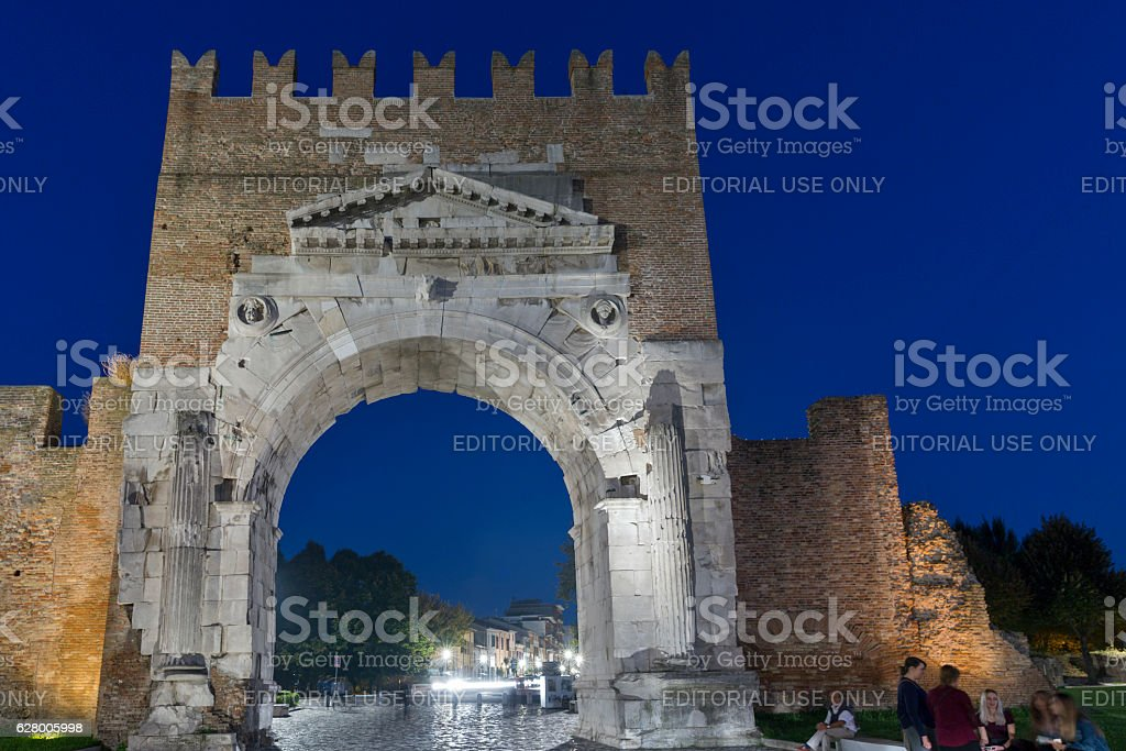 Augustus Arch and 20th September 1870 Street in Rimini, Italy. stock photo