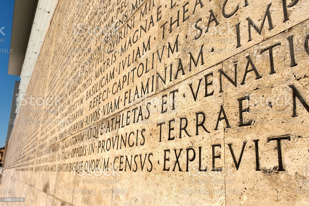Augustus' RES GESTAE from Ara Pacis, Rome, 9 AD stock photo