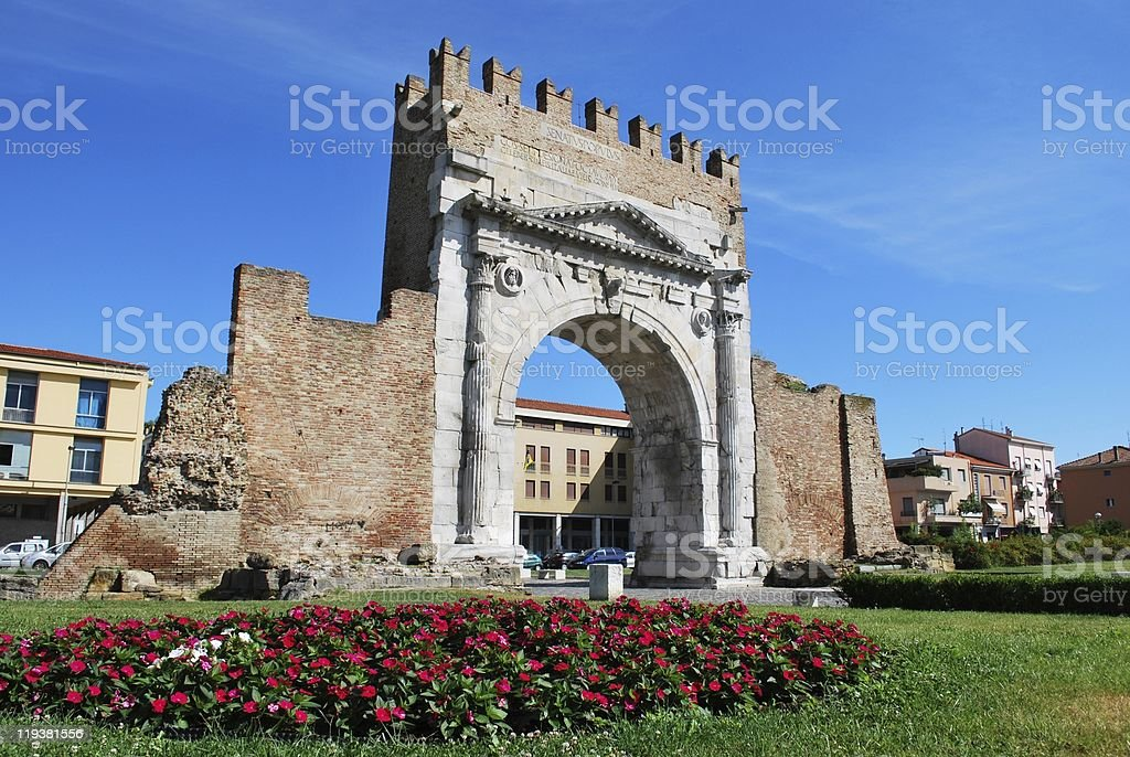 Augustus' triumph arch, Rimini, Italy stock photo