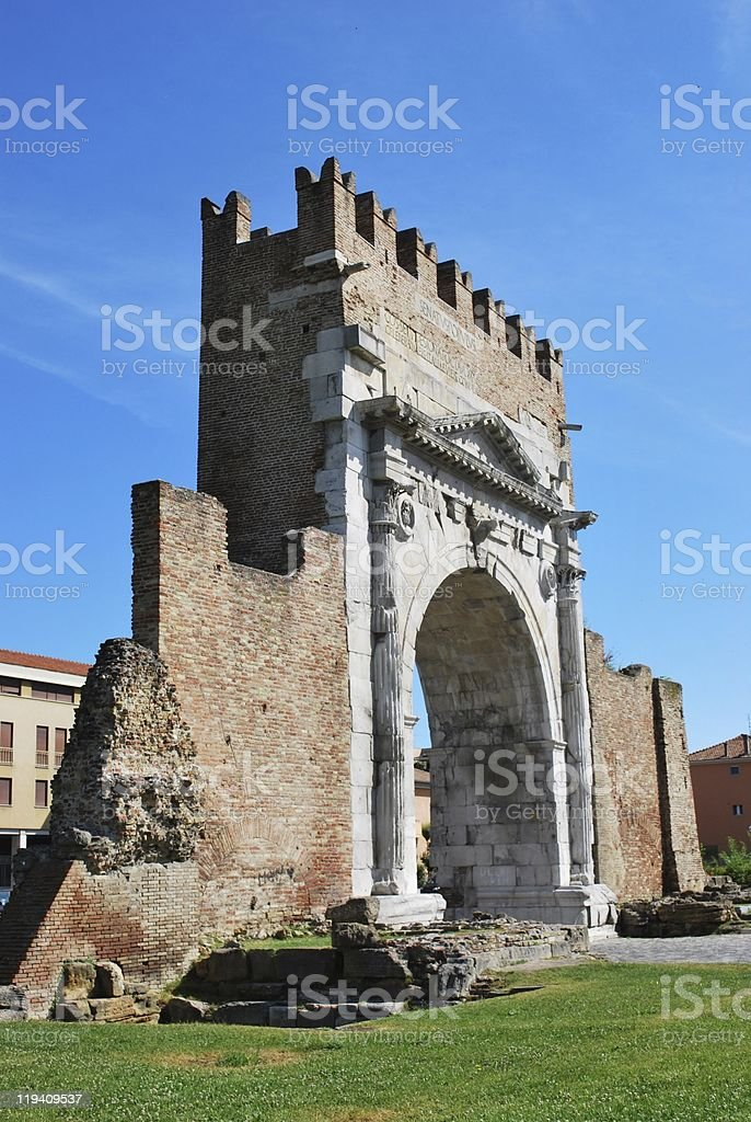 Augustus' triumph arch, Rimini, Italy royalty-free stock photo