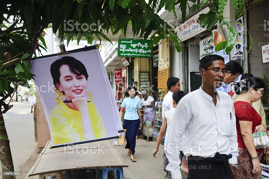 Aung San Suu Kyi poster in Yangon stock photo
