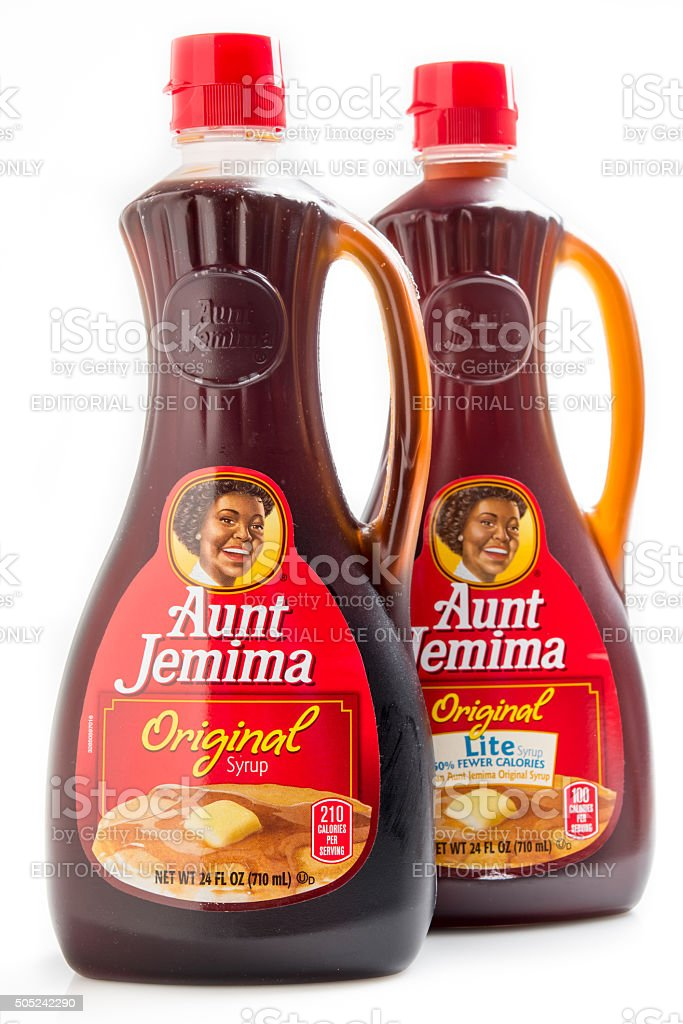 Aunt Jemima Brand Original and Lite Syrup stock photo