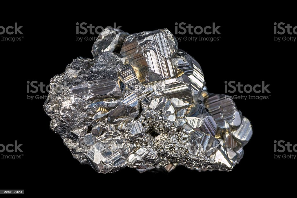 Auriferous Pyrite (Fe S2) gray stone crystals isolated on black stock photo