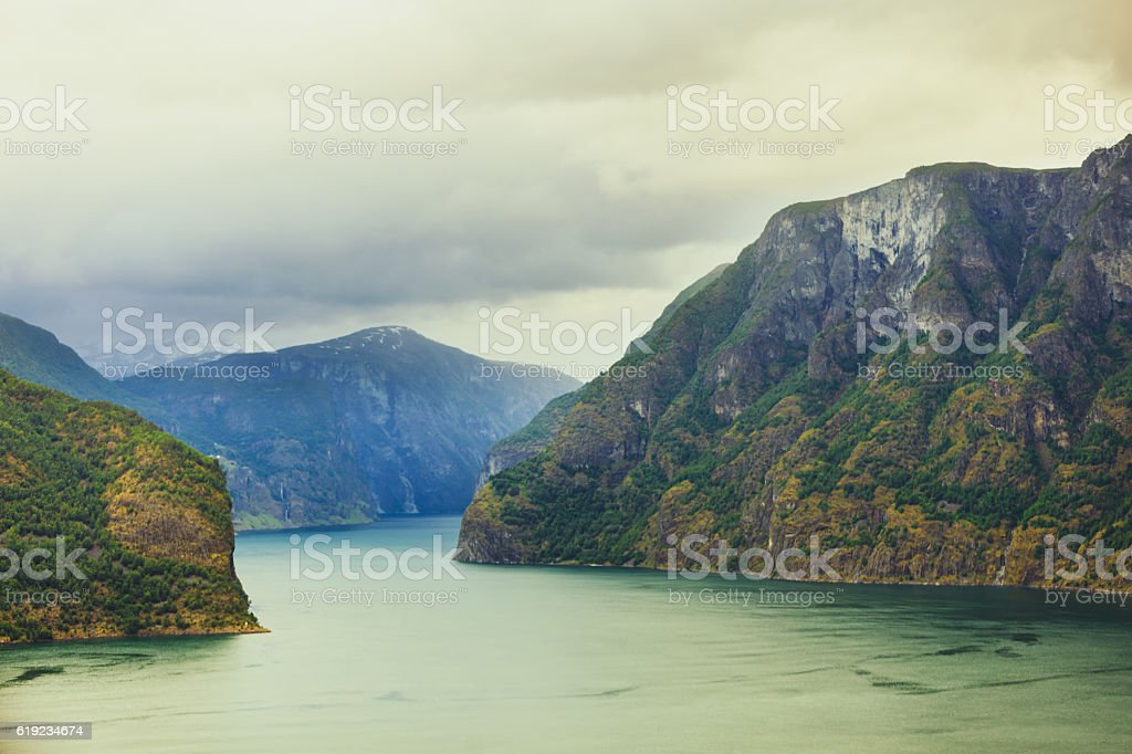 Aurland fjord from Stegastein view point, Norway stock photo