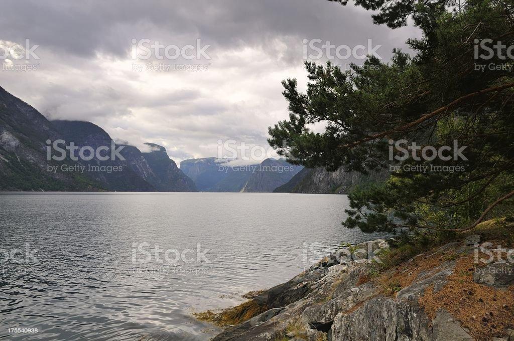 Aurlandfjord view stock photo