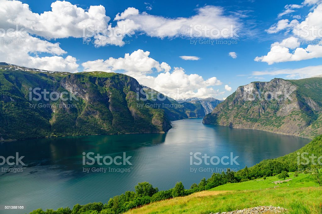 Aurlandsfjord against scenic blue sky, Norway stock photo