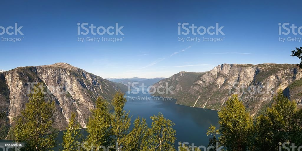 Aurlandsfjord and Naeroyfjord view stock photo