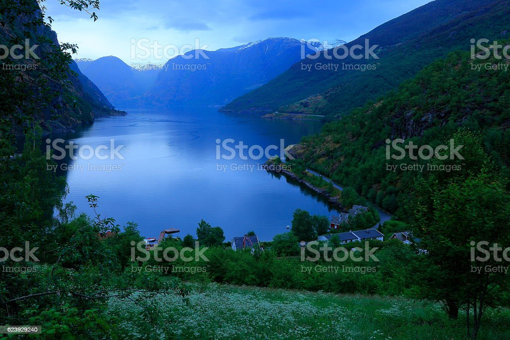 Aurlandsfjord peaceful evening landscape from above Flam, Norway, Scandinavia stock photo