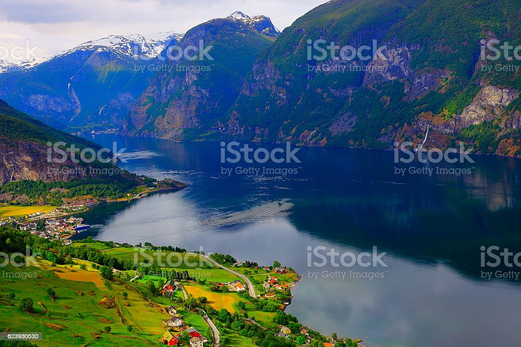 Aurlandsfjord peaceful sunset panorama from above Aurland, Norway, Scandinavia stock photo