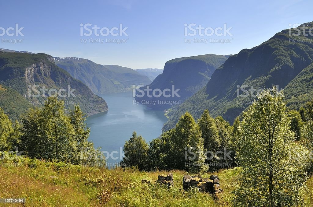 Aurlandsfjord view stock photo