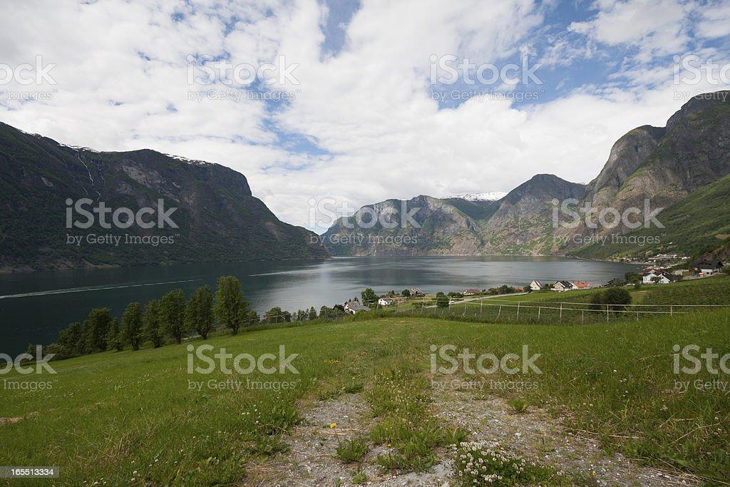 Aurlandsfjorden seen from Stegatein viewpoint (Aurlandsvegen, No royalty-free stock photo