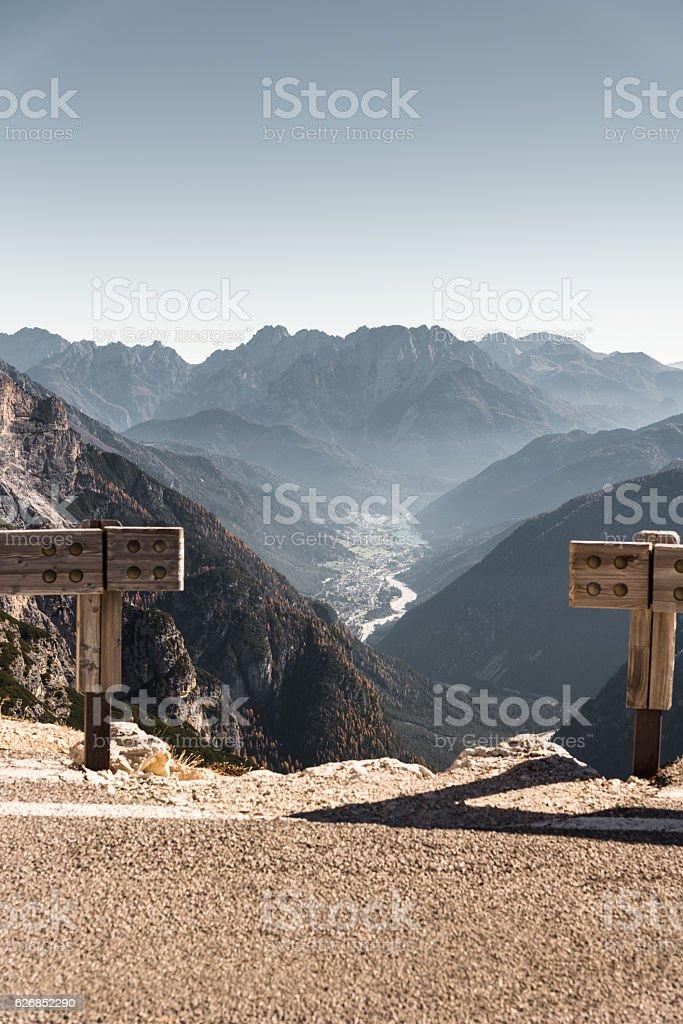 Auronzo di cadore landmark view in the alps stock photo