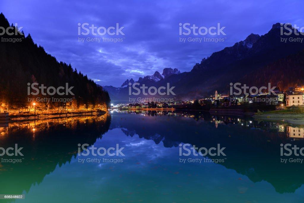Auronzo di Cadore,Riflesso notturno stock photo