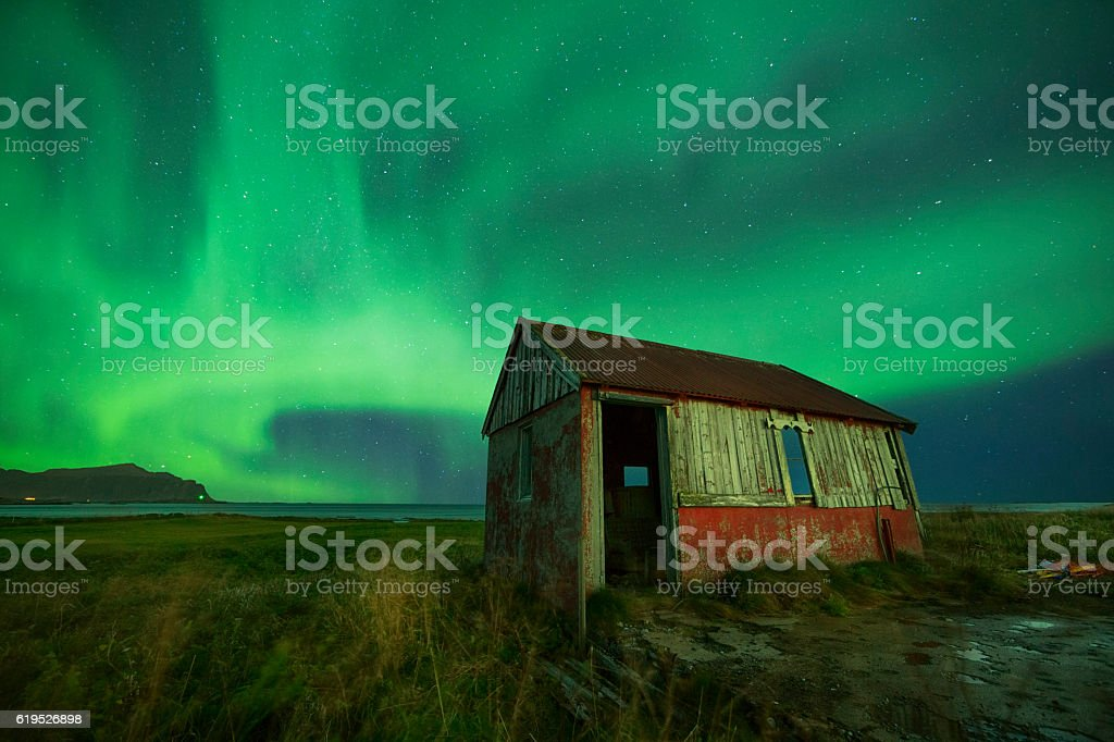 Aurora and Abandoned Hut, Lofoten, Norway stock photo