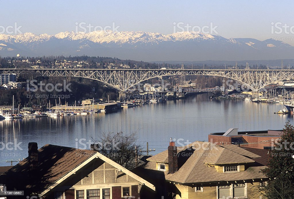 Aurora and Fremont Bridges in Seattle royalty-free stock photo