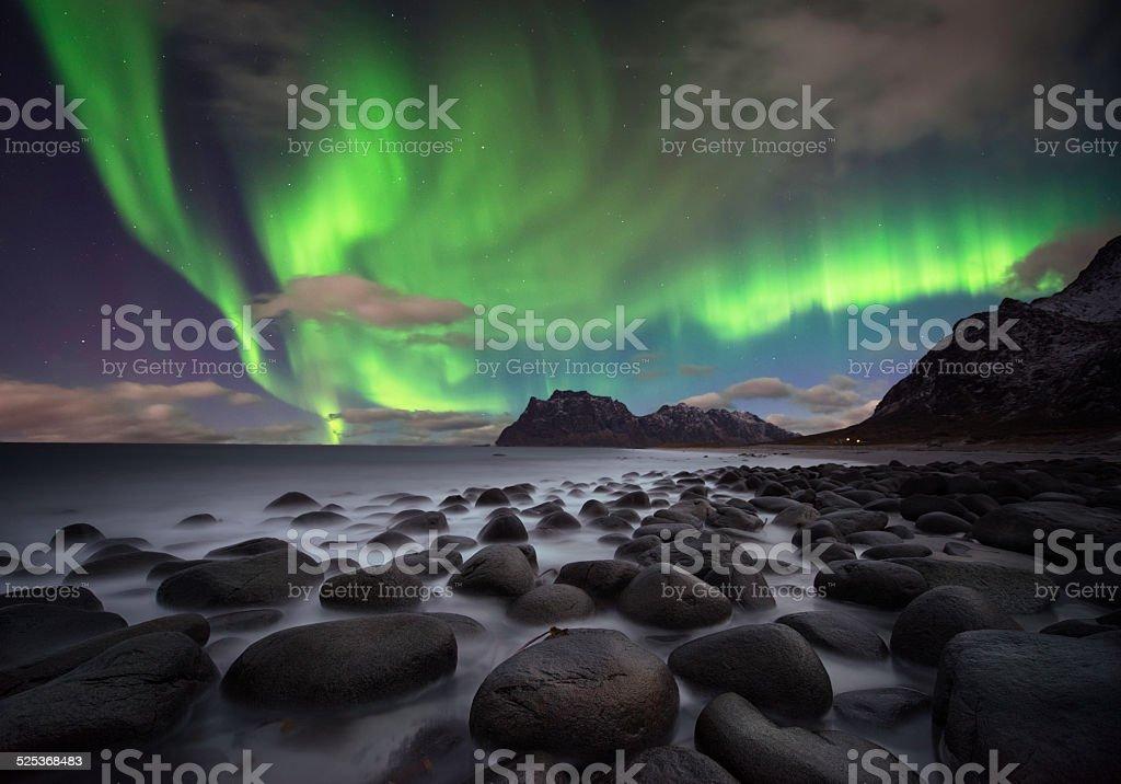 Aurora beach stock photo