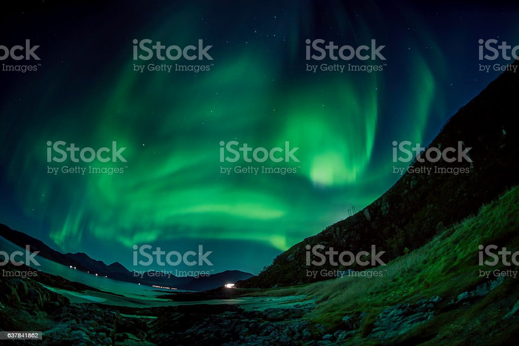 Aurora Boreal in Tromso - Norway stock photo
