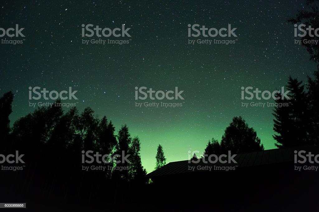 Aurora borealis and stars stock photo