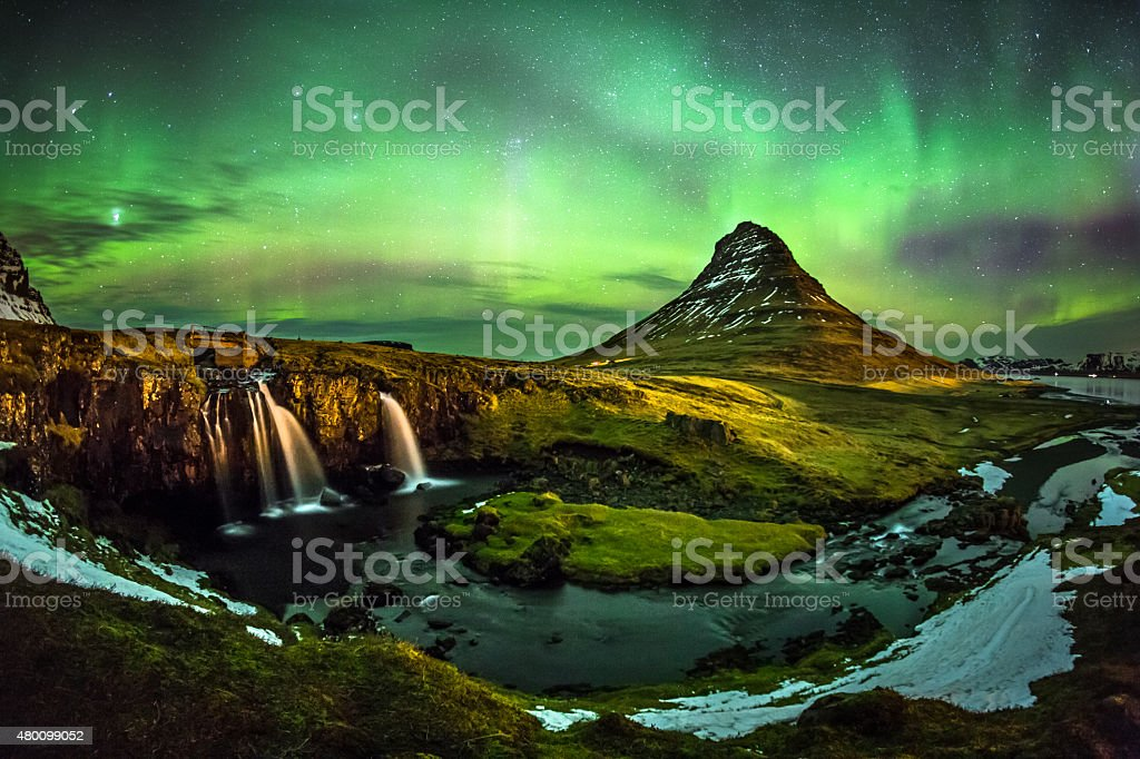 Aurora borealis at Mount Kirkjufell Iceland stock photo