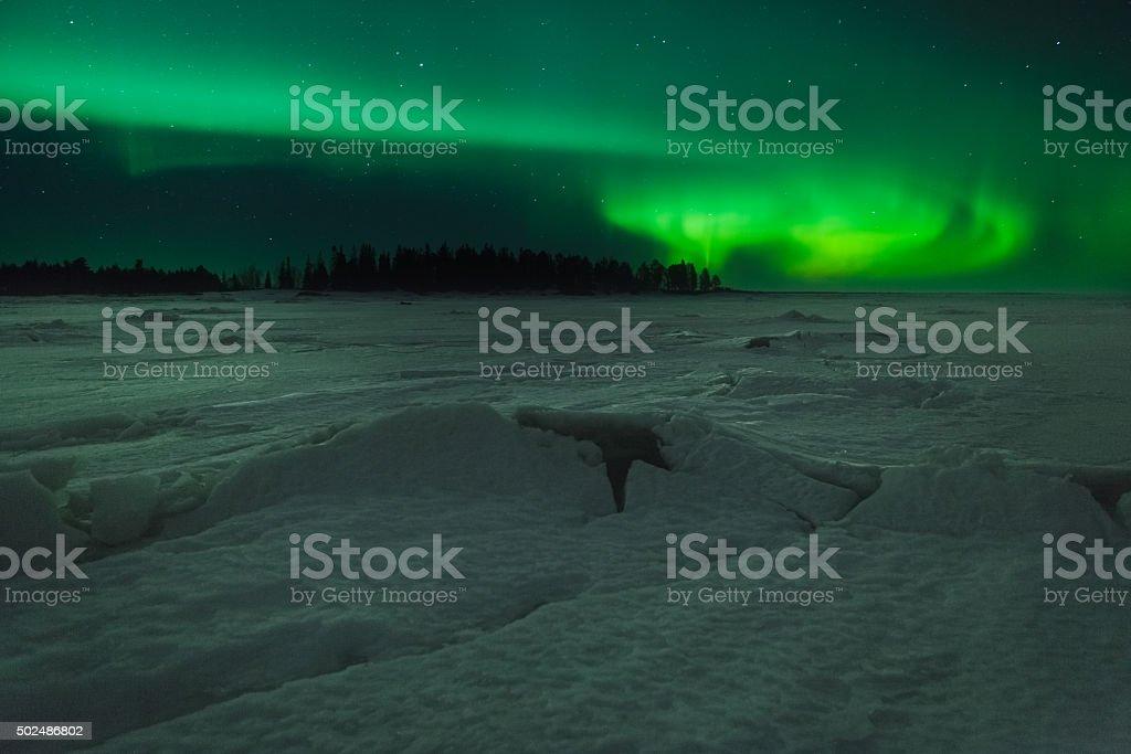 Aurora Borealis at the seaside stock photo