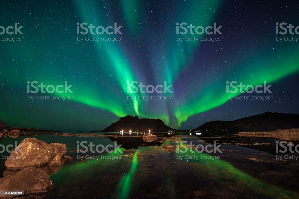 Aurora Borealis Bø i Vesterålen stock photo