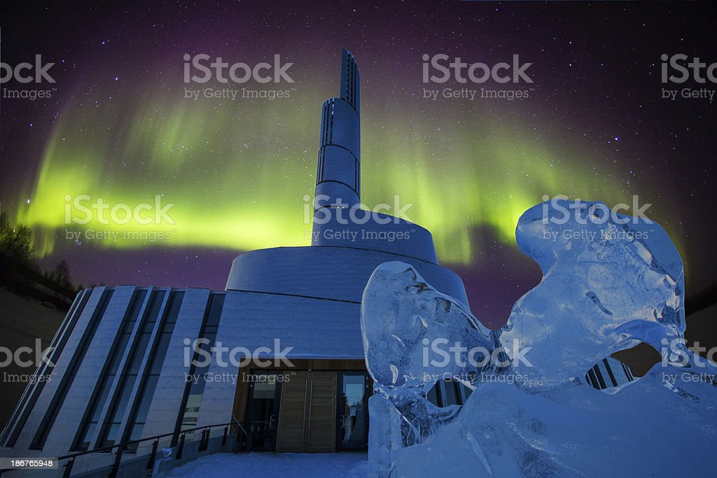 Aurora borealis behind a cathedral in Alta Norway stock photo