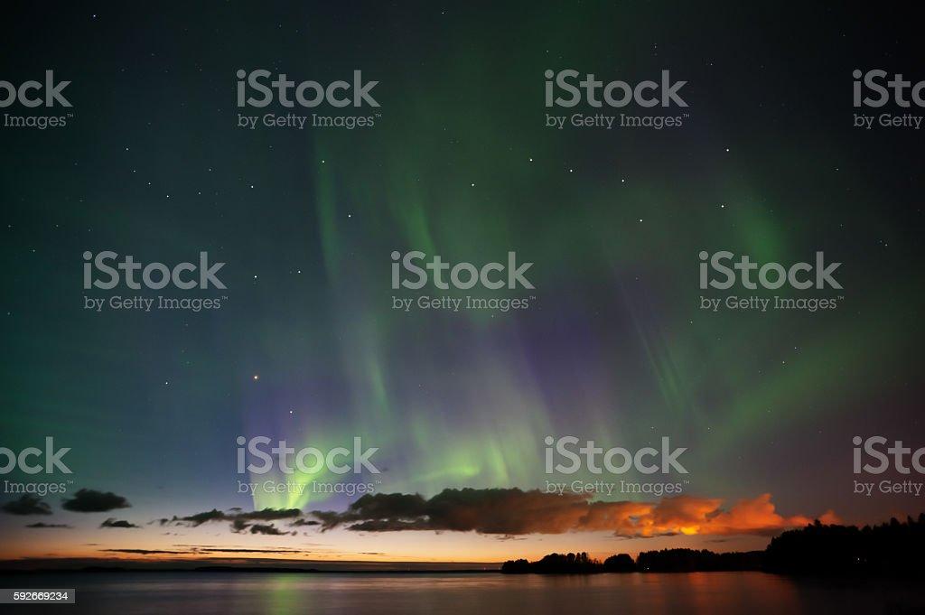 Aurora Borealis, Big Dipper and Bootes stock photo