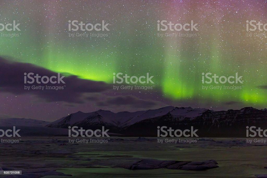 Aurora borealis Glacier Iceland stock photo