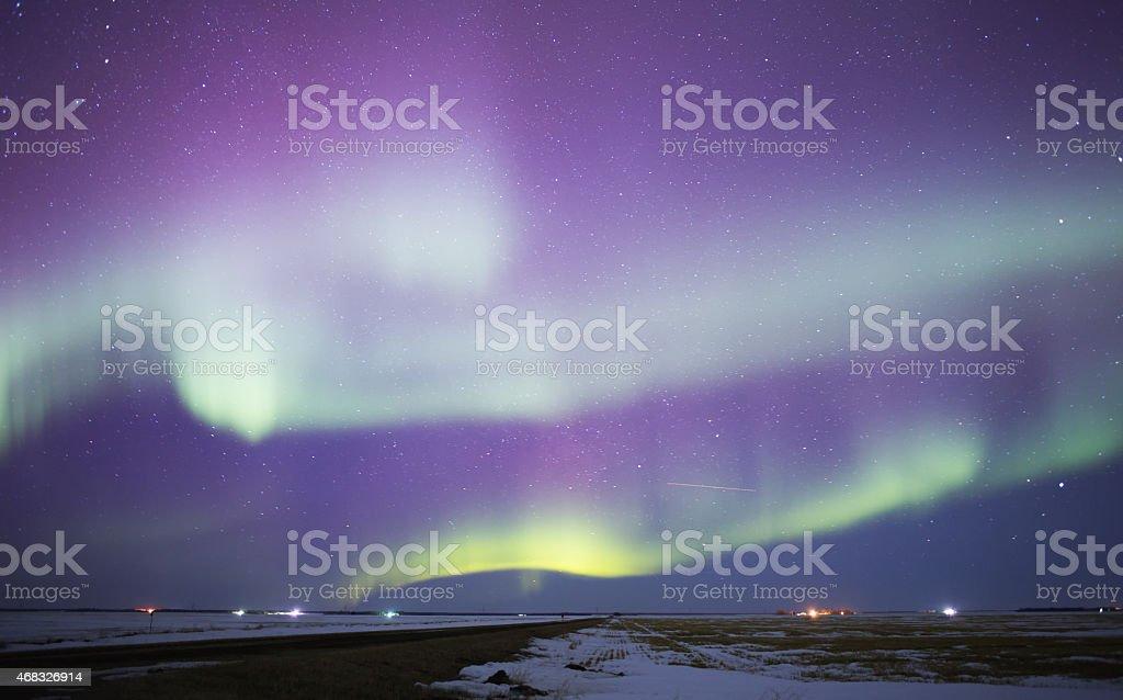 Aurora borealis in a star studded sky stock photo