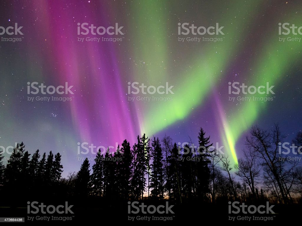Aurora Borealis (Northern lights) in Alberta, Canada stock photo